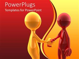 PowerPlugs: PowerPoint template with red and orange colored human figures shaking hands on a red and orange background