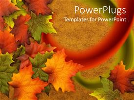 PowerPlugs: PowerPoint template with red, orange, green, and yellow leaves on a brown background