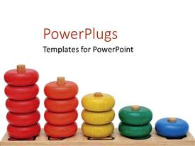 PowerPlugs: PowerPoint template with red, orange, yellow, green and blue wooden rings toy on white background