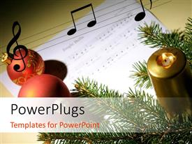 PowerPlugs: PowerPoint template with red ornaments and music symbols on music note with candle