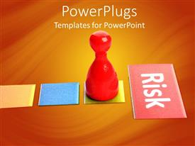 PowerPlugs: PowerPoint template with a red pawn goig towards the risk factor
