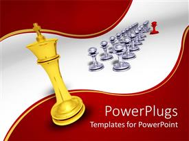 PowerPlugs: PowerPoint template with red pawn leading other chrome pawns with golden king looking on