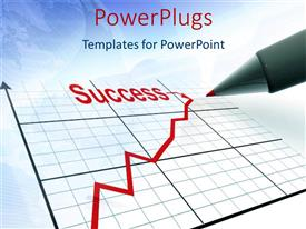 PowerPlugs: PowerPoint template with red pen plotting graph for financial success with blurred globe
