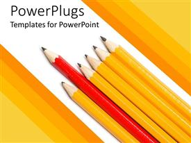PowerPlugs: PowerPoint template with red pencil leading row of yellow pencils on white background