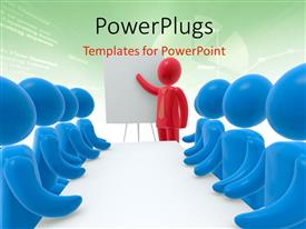 PowerPoint template displaying red person pointing hand at board and group of persons sitting behind desk and listening, green color charts