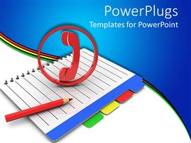 PowerPoint template displaying red phone symbol and a red penci on a book