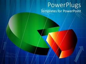 PowerPlugs: PowerPoint template with red pie cut out of three dimensional circle on blue background