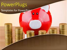 PowerPoint template displaying red piggy bank with stacks of gold coin on desk