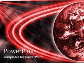 PowerPlugs: PowerPoint template with red planet with red laser looking lights over it and black background