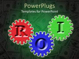 PowerPlugs: PowerPoint template with red, purple, and green gears with letters ROI, return on investment