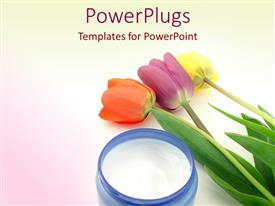 PowerPlugs: PowerPoint template with red, purple, and yellow tulips next to jar of moisturizing cream