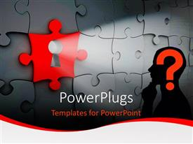 PowerPlugs: PowerPoint template with a red puzzle with a key hole and a silhouette with a question mark
