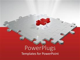 PowerPlugs: PowerPoint template with red puzzle piece on top of white puzzle, white and red background