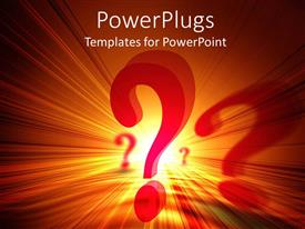 PowerPlugs: PowerPoint template with red question marks on orange and yellow light background