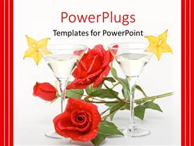 PowerPoint template displaying red rose between two glasses of martini on white background