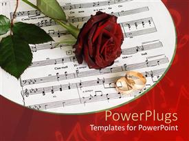 PowerPlugs: PowerPoint template with red rose and two gold wedding bands on sheet music