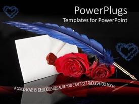 PowerPoint template displaying red roses and a blue feather with a white letter