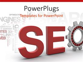 PowerPlugs: PowerPoint template with red SEO sign in 3D in white background with technological words