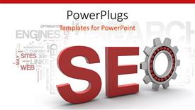 PowerPoint template displaying red SEO sign in 3D in white background with technological words