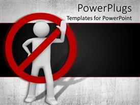 PowerPlugs: PowerPoint template with red no sign on white waving figure against black background, forbidden, separate
