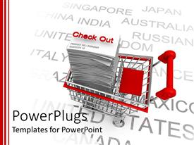 PowerPoint template displaying red and silver shopping cart with stacks of papers with a