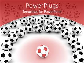 PowerPoint template displaying red soccer ball with black and white footballs, red border