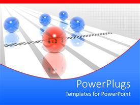 PowerPlugs: PowerPoint template with red sphere crosses finish line on running track before four blue spheres