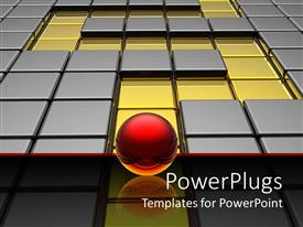 PowerPlugs: PowerPoint template with red sphere on glowing reflective surface waiting in front of a metallic silver and golden labyrinth