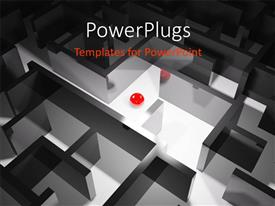PowerPlugs: PowerPoint template with red sphere sitting between rendered 3D maze