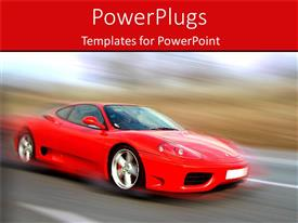PowerPoint template displaying red sports car speeding on the road on blurred background