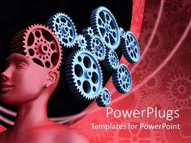 PowerPlugs: PowerPoint template with red statue with gears in the head on a red background