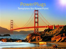 PowerPlugs: PowerPoint template with red steel bridge over the Pacific Ocean near San Francisco