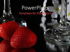 PowerPlugs: PowerPoint template with red strawberries and wine glass on reflective black table