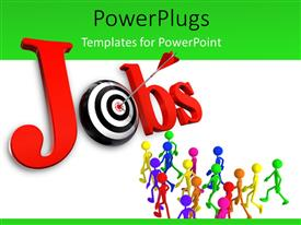 PowerPlugs: PowerPoint template with red tailed dart hitting red bulls eye of black and white job target