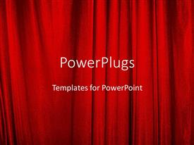 PowerPlugs: PowerPoint template with red theater curtains on stage closed for entertainment and actors