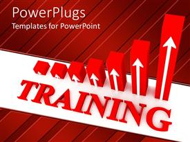 PowerPlugs: PowerPoint template with red three dimensional bar chart showing ever increasing return on Training investment