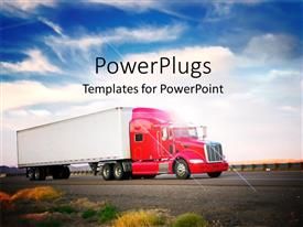 PowerPoint template displaying red truck on highway with blue cloudy sky