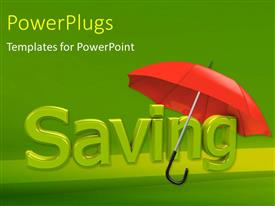PowerPlugs: PowerPoint template with red umbrella over green 3D savings depicting financial security