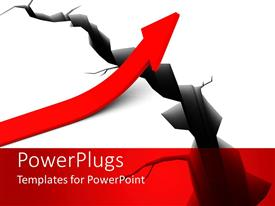 PowerPlugs: PowerPoint template with red upward pointing arrow creating bridge over crack in white background, solutions