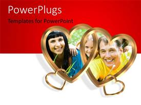 PowerPlugs: PowerPoint template with red and white background with heart shaped interlocking symbols and happy family