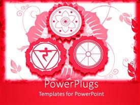 PowerPlugs: PowerPoint template with red and white background with three red colored Hindu religious signs