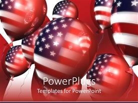 PowerPlugs: PowerPoint template with red white and blue American flag on balloons, patriotic, USA, 4th of July, Independence Day