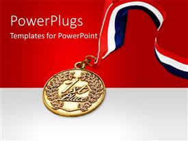 PowerPlugs: PowerPoint template with red, white and blue colored ribbon attached to gold medal
