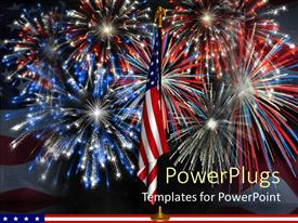 PowerPlugs: PowerPoint template with red, white, and blue fireworks behind American flag