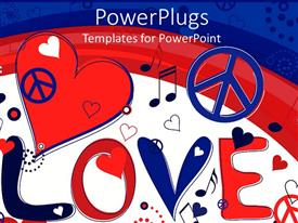 PowerPoint template displaying red white and blue love, peace, music note, heart background