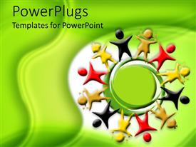 PowerPlugs: PowerPoint template with red, white, brown, and yellow figures standing around a green representation of planet on white background