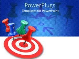 PowerPoint template displaying red and white bulls eye with push pins