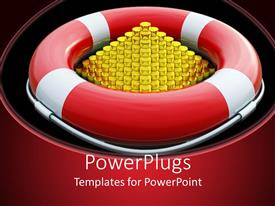 PowerPlugs: PowerPoint template with a red and white buoy with a golden pyramid inside