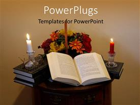 PowerPlugs: PowerPoint template with red and white candle on book pile with open book against flower