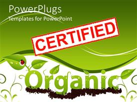 PowerPoint template displaying red and white certified stamp above organic made from young plants and lady bug on leaf